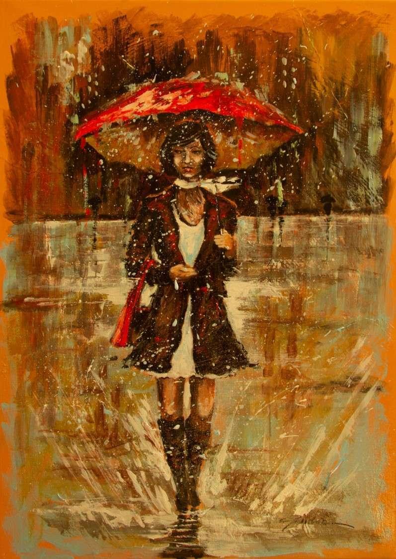 lei e la pioggia